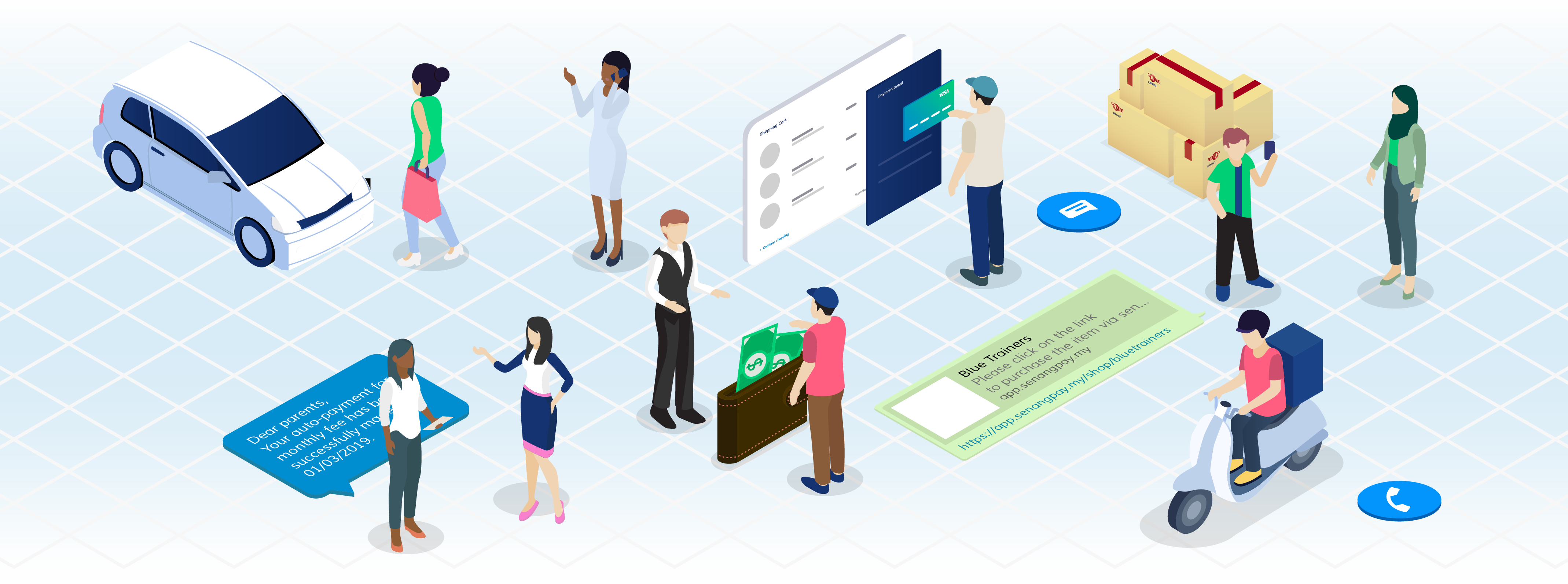 Isometric image: Bunch of people stand and talking