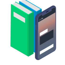 Books and smartphone
