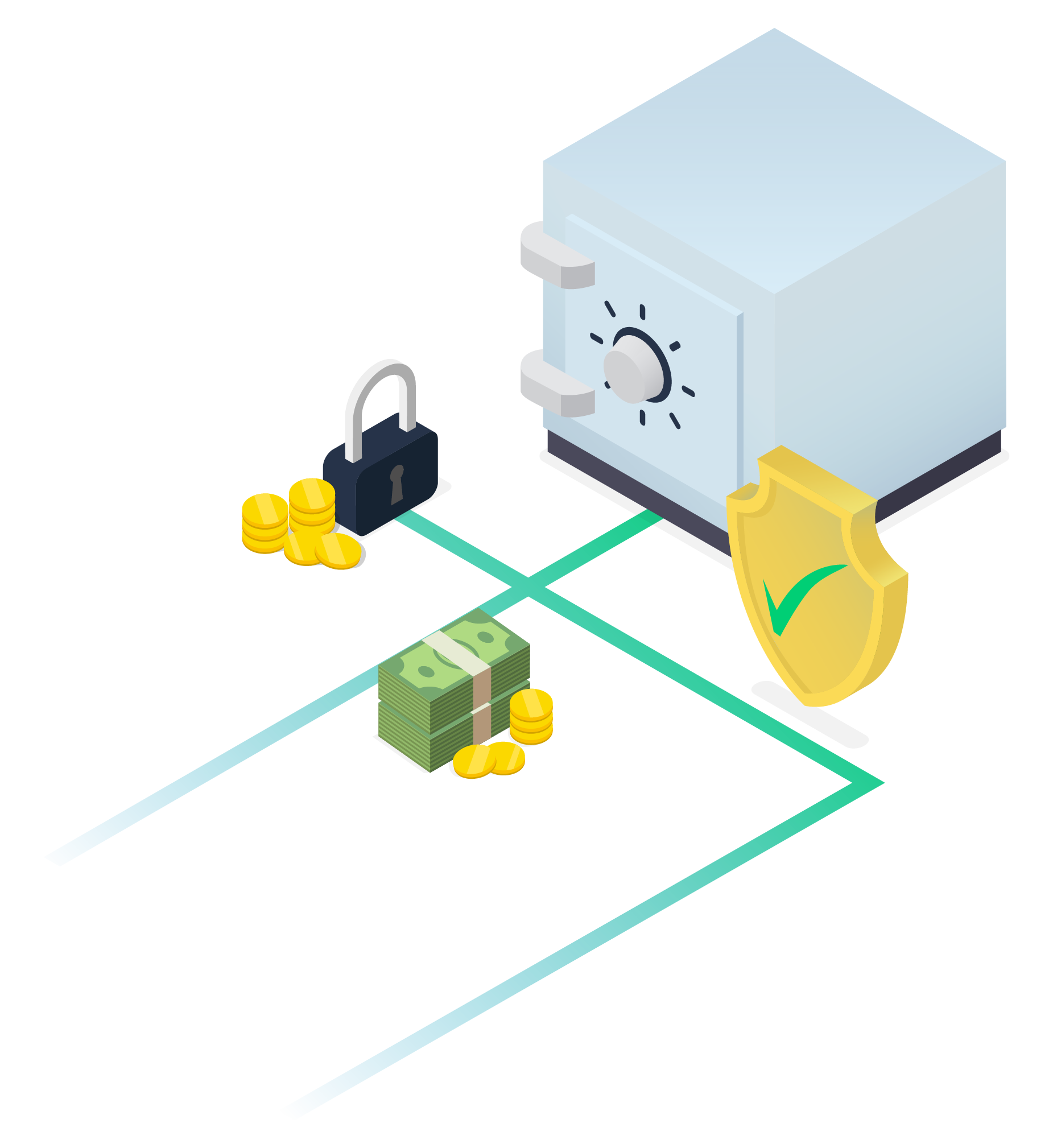 Isometric image; safe box and money.