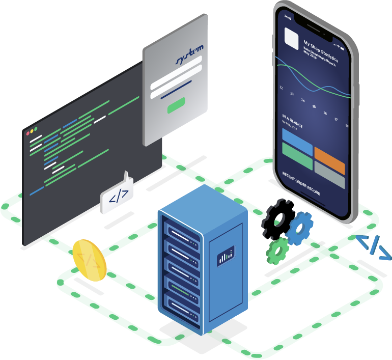 Isometric Image; smartphone, coding terminal, server.